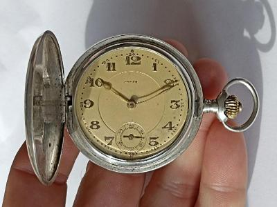 OMEGA pánské celostříbrné tříplášťové kapesní hodinky