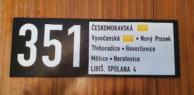 Autobusové cedule - linka 351 a 366 (Praha MHD)