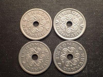 Dánsko 4x 1 Krone(1992,1993,1995,2000)