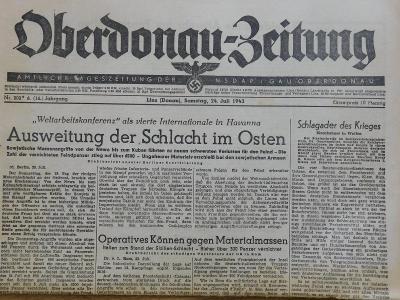 Oberdonau-Zeitung. Origo dobové válečné noviny. 24.7.1943. B2617
