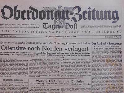 Oberdonau-Zeitung. Origo dobové válečné noviny. 20.1.1944. B2615