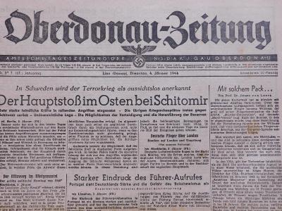 Oberdonau-Zeitung. Origo dobové válečné noviny. 4.1.1944. B2614
