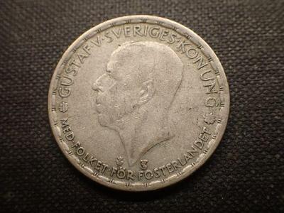 Švédsko 1 Krone 1950 Ag