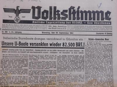 Volkskimme. Origo dobové válečné noviny. 23.9.1941. B2610
