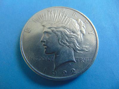 Peace Dollar - 1922 - Nádherný - stříbro od Koruny