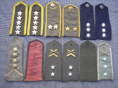 Různé druhy vojenských nárameníků