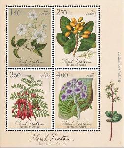 Nový Zéland 2021 Známky aršík ** rostliny květiny botanika