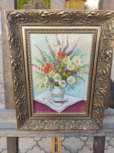 Krásná kytice v krásném rámu signováno viz fota   č-101 od 1kč