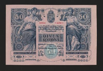 RAKOUSKO - UHERSKO - 50 korun,1902 - stav + 1 - bezvadný hlubotisk