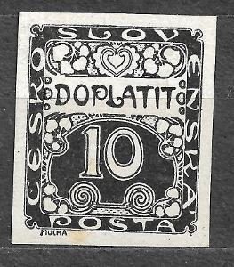 J984 Doplatní 10hal černotisk