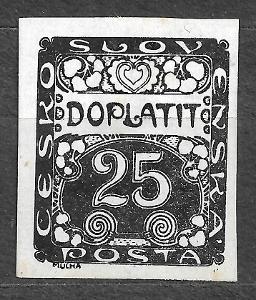 J986 Doplatní 25hal černotisk