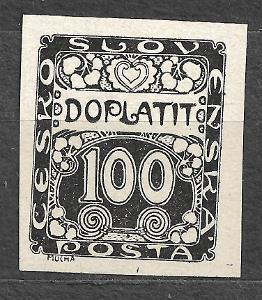 J988 Doplatní 100hal černotisk