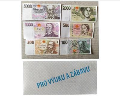 České bankovky 5000 Kč,2000 Kč,1000 Kč,500 Kč,200 Kč,100 Kč výukové