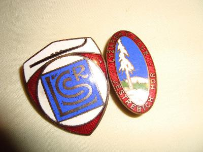 2 x starý lyžařský odznak smalt - Lyžařský klub Jestřebích hor,Svoboda