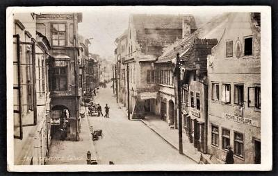 ČESKÉ BUDĚJOVICE ČESKÁ ULICE HOSTINEC ČESKÁ CHALUPA FOTO 1925