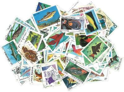 Ryby a mořská fauna - 250 různých razítkovaných známek K02