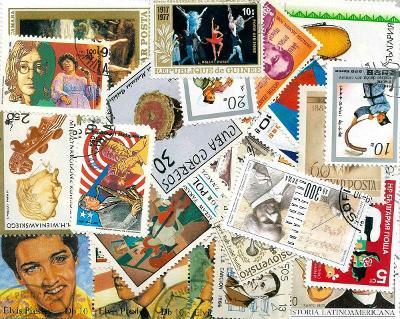 Hudba - 100 různých razítkovaných známek K01