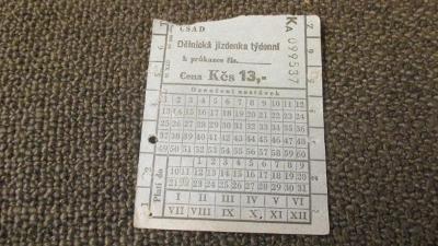 H. ČSAD - Dělnická jízdenka týdenní  Ka