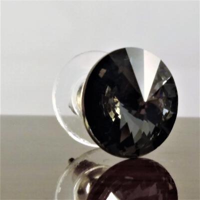 Stříbrná náušnice s krystalem Swarovski Rivoli 8 mm (SS39)