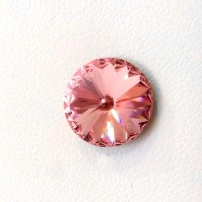 Stříbrná náušnice s krystalem Swarovski Rivoli 8 mm (SS39) Rose lt