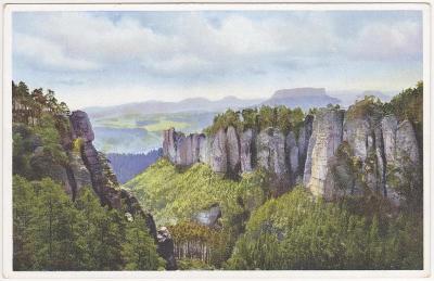 Německo, Saské Švýcarsko, Kleine Gans a okolí Bastei 1919
