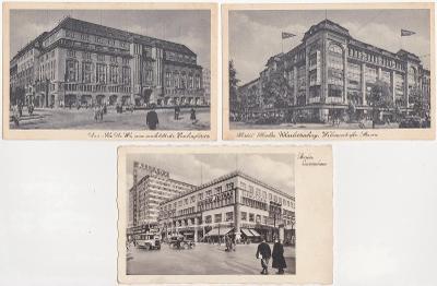 Německo, Berlín (3 ks) - obchodní domy 1943