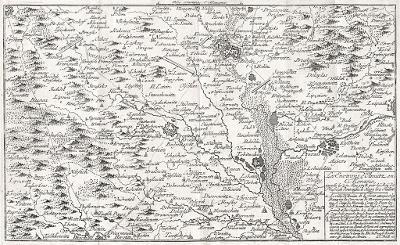 Olomouc okolí bitva 1758, Beck, mědiryt, 1789