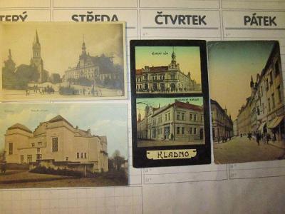 KLADNO  -Pohlednice  4 kusy prošlé poštou  a jeden Příjemce Zachovalé