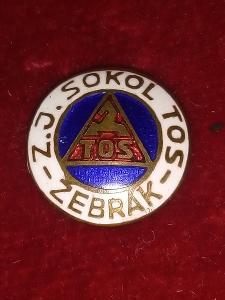 """Starý smaltovaný odznak""""FOTBAL-Z.J.SOKOL TOS-ŽEBRÁK""""TOP!!!"""