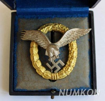 Německo III. říše odznak Palubního letce a pozorovatele - orig. etue!