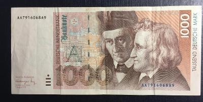 Německo -  Bundes - 1000 marka - z oběhu - 1991 - AA serie