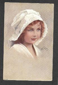 Dívenka, Otto Peters, signovaná, ca 1910