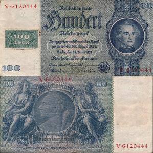 Německo 100 Marek Germany Reich=>DDR; 1948; Pick#7; VF; vzácná! kolek!