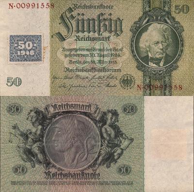 Německo 50 Marek Germany Reich=>DDR; 1948; Pick#6; EF; vzácná! kolek!
