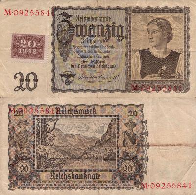 Německo 20 Marek Germany Reich=>DDR; 1948; Pick#5A; FF; vzácná! kolek!