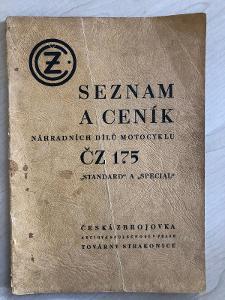 ČZ 175 standard a special, Česká zbrojovka, seznam a ceník dílů