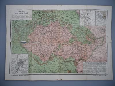 ČECHY A MORAVA - Praha, Brno - Země Koruny české - Mapa z roku 1908