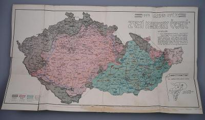 ZEMĚ KORUNY ČESKÉ - Čechy, Morava, Slezsko - Mapa volebních okresů