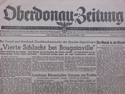 Oberdonau-Zeitung. Origo dobové válečné noviny. 15.11.1943. B2552