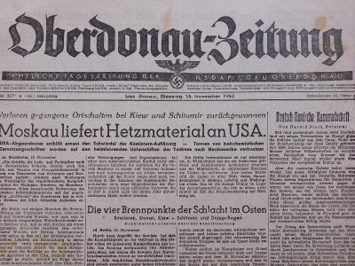 Oberdonau-Zeitung. Origo dobové válečné noviny. 16.11.1943. B2549