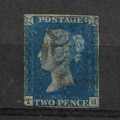 Two Pence Blue 1840 TH, SG 5, TD 1, zn.p.236, mim.vysoký kat.!!!!