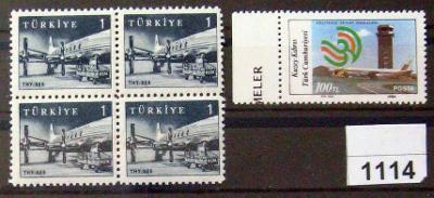 Turecko čtyřblok DOPRAVA letadlo pošta + letiště / 1114