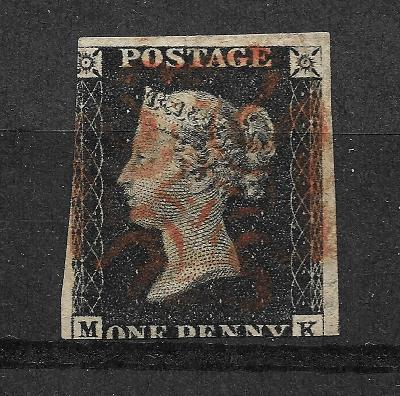 ONE PENNY BLACK 1840 MK, SG 1,TD 1b, zn.p.155, vysoký kat.!!!
