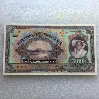 5000 KČS 1920 PER SER B.POŠKOZENA A OPRAVENA SLUŠNÉ.