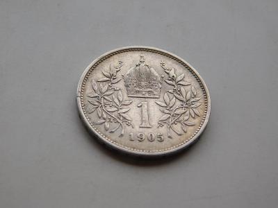 1 korona 1905 - vzacny rocnik, pekny stav