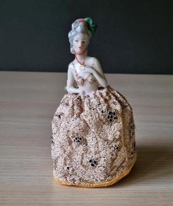 Jehelníček Čajová panenka - Half doll - v originálním šaty 1900