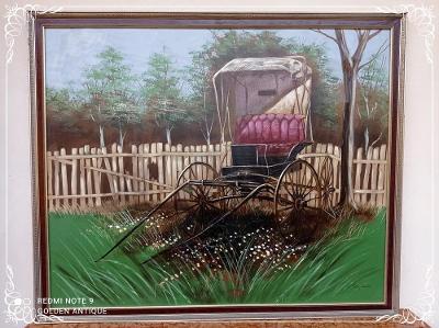*** Starý xxl obraz malba na plátně kočár - Cody Adams ***
