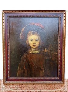 *** Starožitný dřevěný zdobený obraz olejomalba plátno portrét ***