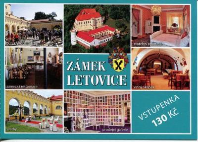 Letovice (Blansko), zámek - pohlednice jako vstupenka