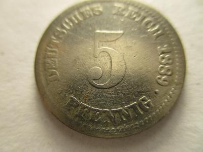 Německo, Kaiser Reich , 5 pfennig z roku 1889 D